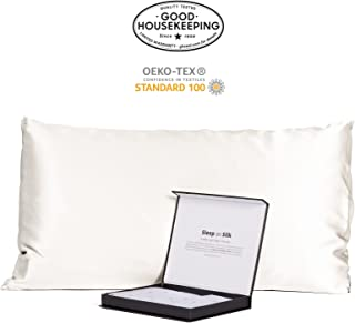 Fishers Finery 30mm 100% Pure Mulberry Silk Pillowcase Good Housekeeping Quality Tested (White, Queen)