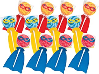 Fun Express Superhero Swirl Candy Lollipops | Assorted Fruit Flavors | 12 Count | Great for Birthday Parties, Holiday Giveaways, Party Favors, School Treats