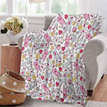 Luoiaax Anime Comfortable Large Blanket Japanese Cartoon Pattern for Kids Nursery with Happy Bunnies Cupcakes Hearts Flowers Microfiber Blanket Bed Sofa or Travel W57 x L74 Inch Multicolor