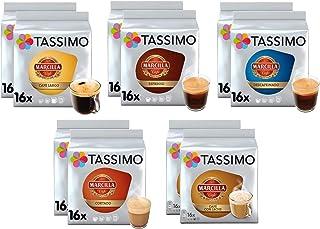 Tassimo Café Marcilla Selección de café - Marcilla Café con Leche/Cortado/Espresso/Café Largo/Espresso Descafeinado Cápsul...