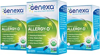 Genexa Allergy-D – 180 Tablets (3 Pack) | Certified Organic & Non-GMO, Physician Formulated, Homeopathic | Multi-Symptom Allergy Relief Medicine