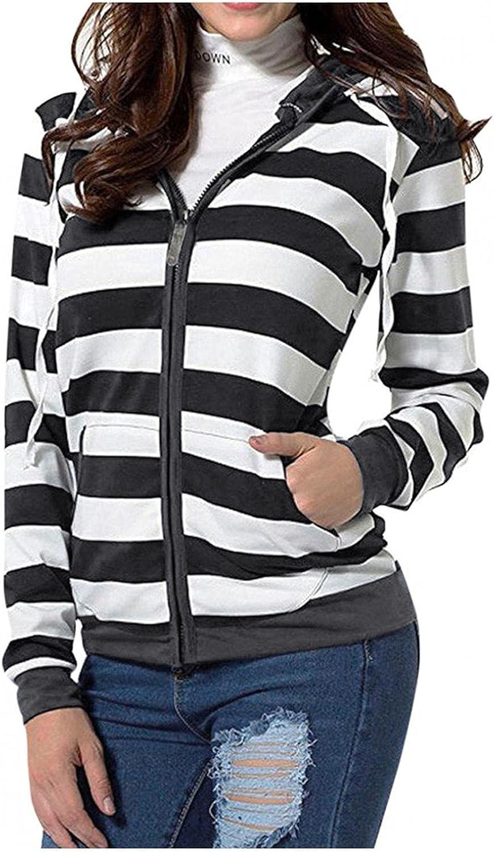 BAGELISE Women Hoodies, Women Lightweight Oversize Thin Hoodie Jacket Plus Sizes Coat with Striped Full Zipper Hoodie