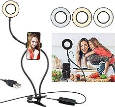 Selfie Ring Light with Cell Phone Holder Stand & Gooseneck Stand for Live Stream & Makeup(3-Light Mode&10-Level Brightness)