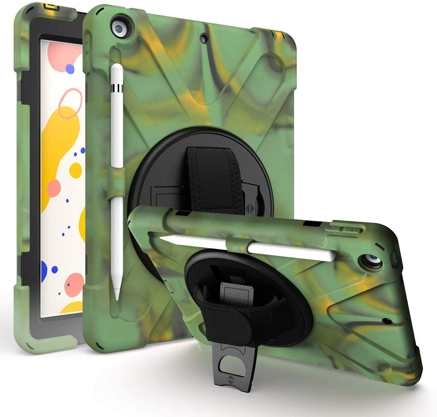 iPad 8th Gen 10.2 Case KIQ Heavy Duty Shield Case Tempered Glass Screen Protector Cover Stand Rotating Handle Palm Grip Carrying Sling Strap for Apple iPad 10.2 2019/2020 7th 8th [Camouflage]