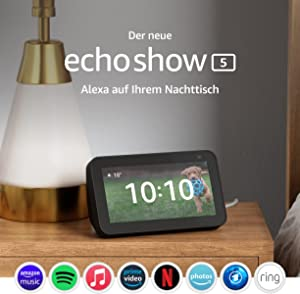 Der neue Echo Show 5 (2. Generation, 2021) | Smart Display mit Alexa und 2-MP-Kamera | Anthrazit