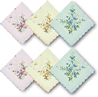GB Women's 100% Cotton Handkerchiefs Assorted with Wavy Edge and Print Floral 6 Pieces 01