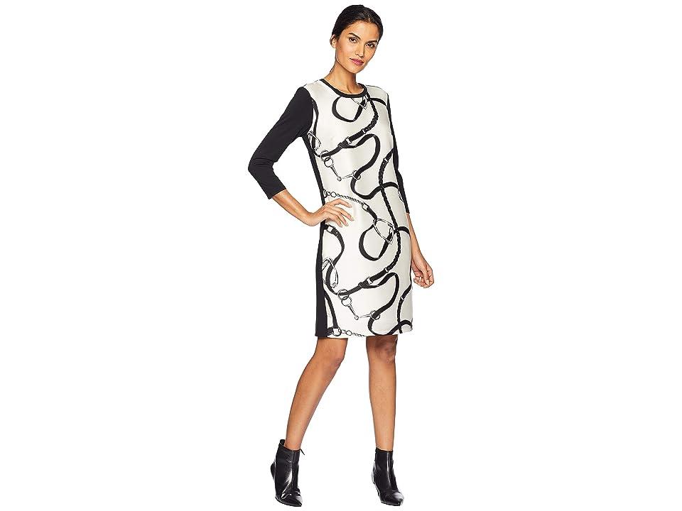 LAUREN Ralph Lauren Silk Printed Ponte Dress (Polo Black) Women