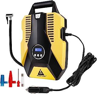 پمپ کمپرسور هوا قابل حمل ، تورم تایر دیجیتال 12 ولت DC ، خاموش شدن خودکار 150 PSI ، فلاشر LED اضطراری