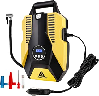 Portable Air Compressor Pump,12V DC Digital Tire Inflator, 150 PSI Auto Shut-off, w/ emergency LED flasher & Extra Long Cable for Tires, Bicycle, Air Boat/Mattress,Balls and Other Inflatables