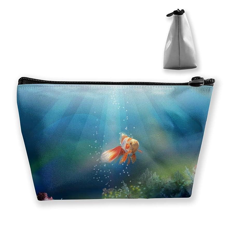 社会学挨拶チケットSzsgqkj 水中のかわいい金魚 化粧品袋の携帯用旅行構造の袋の洗面用品の主催者