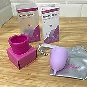 Femometer Copa Menstrual (1 Piezas Pequeña y 1 Piezas Grande)- Silicona suave reutilizable de grado medicinal - Menstrual Cup (Rosa y morado)