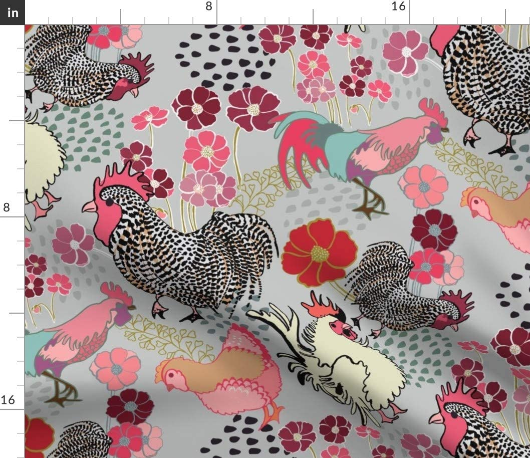 Green Rooster Print-Medium Upholstery Fabric-Fabric By the Yard-Bedding-Window Treatments-Cushions-Custom Pillows