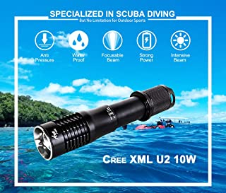 Ano F950 Dive Focus Light Push Power Switch Include ICR18650 Battery 950 Lumen Underwater Flashlights with Adjustable Beam 650ft Waterproof
