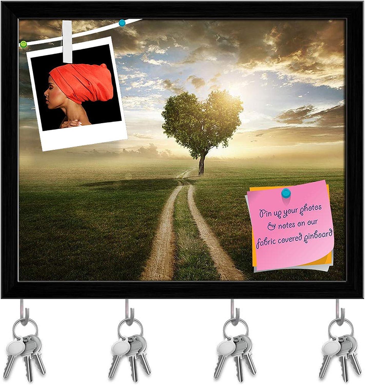 Artzfolio Tree in The Shape of A Heart Key Holder Hooks   Notice Pin Board   Black Frame 19.8 X 16Inch