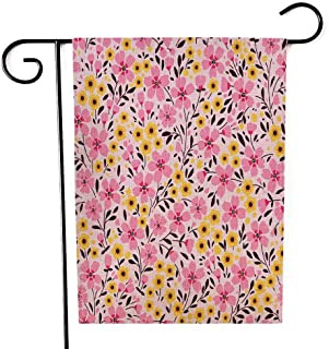 EMMTEEY Holiday Garden Flag Double Sided Burlap Decoration 12.5x18 Inch for Yard Outdoor Decor Garden Flag Floral Pattern Pretty Flowers on Dark White Background Printing with Small Pink and Yellow