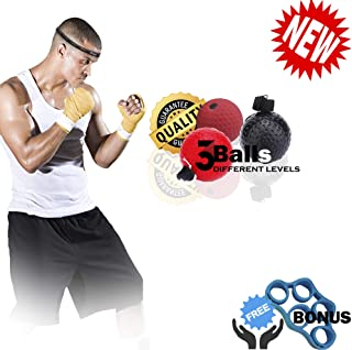 JHEA Boxing Reflex Ball, 3 Difficulty Level Boxing Ball with Headband, Softer Than Tennis