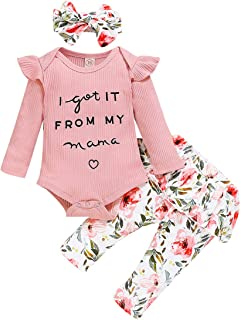 Haokaini Baby Mädchen Brief Gedruckt Strampler Blumenhose Stirnband Outfits Kleidung Set