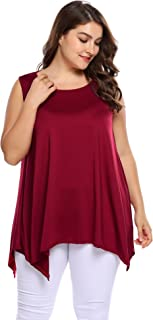 Women Plus Size Sleeveless Tunic Swing Flare Top Tees in Pure Color
