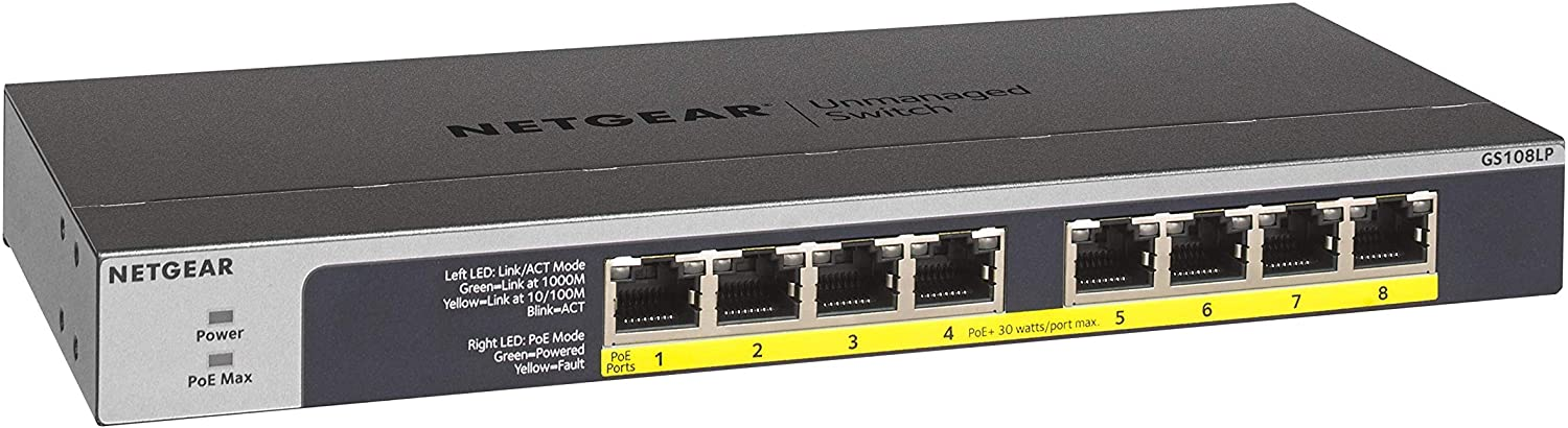 NETGEAR 8-Port Gigabit Ethernet Unmanaged PoE Switch (GS108LP) - with 8 x PoE+ @ 60W Upgradeable, Desktop, Wall Mount or Rackmount, and Limited Lifetime Protection