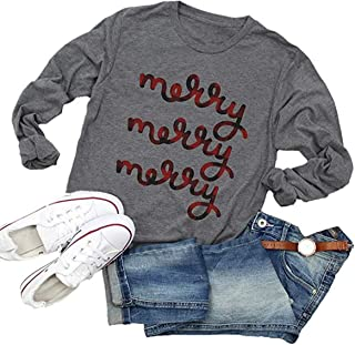 Beopjesk Women's Buffalo Plaid Tees Casual Long Sleeve Merry Letter Print Graphic Blouse Tops