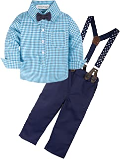 Baby Boys' 2 Pieces Gentleman Clothes Sets Bow Tie Shirts + Suspender Pants Best Birthday Gifts