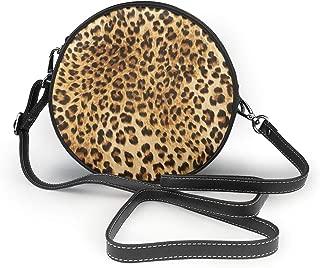 Leopard Skins Colorful Wild Animal Print Crossbody Round Leather Bag Handbags Purse Messenger Bag For Women