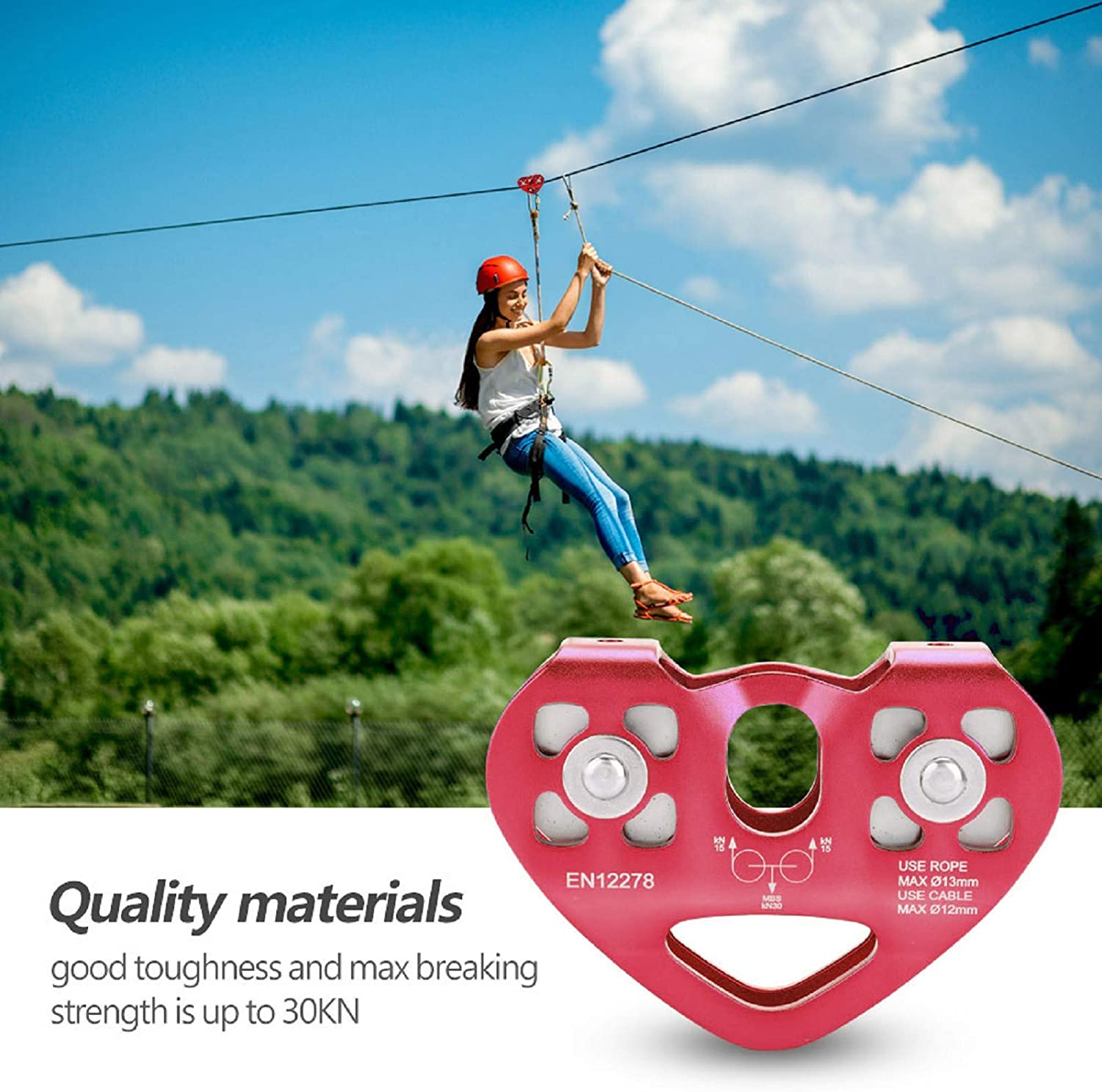 Red FAMKIT 30KN Dual Pulley Zip Line Rescue Cable Trolley Outdoor Rock Climbing Equipment