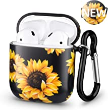 Xmifer Airpods Case, Airpod case Cover for Apple Airpods 2 & 1, Hard Sunflower Floral Airpod Cases with Keychain Cute Girly Airpods Accessories for Women Girls Boys Men