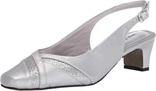 Easy Street womens Pump, Silver Satin, 8.5 US