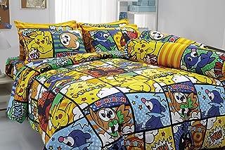 Tamegems Bedding Pikachu Mokuroh Rowlet Ashimari Popplio Nyabby Litten Bed Sheet Set, 1 Fitted Sheet, 2 Pillow Case, 2 Bolster Case (Not Included Comforter) 041 Set B (Queen 60