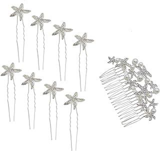 Buorsa 9 合 1 海星婚礼梳带 8 个海星发夹 舞会 婚礼 新娘 伴娘 水晶 美发配件