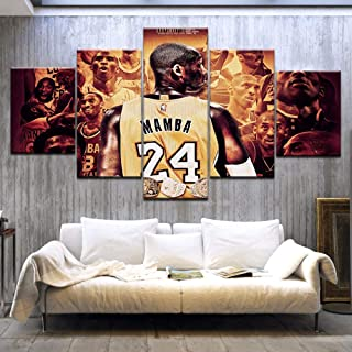 zxianc Modular Picture Canvas Wall Art Bedroom 5 Piece Basketball Player Sports Painting Kobe Bryant Poster Home Without Frame 40 60Cm 2 40 80Cm 2 40 100Cm 1