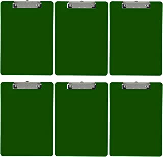 Trade Quest Plastic Clipboard Opaque Color Letter Size Low Profile Clip (Pack of 6) (Green)