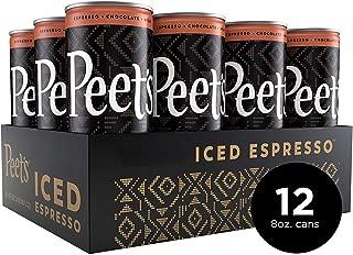 Peet's Iced Espresso Mocha Chocolate 8 oz Can (12 Count) Single-Origin Colombian Espresso with Dutch Process Cocoa & Milk 110 Calorie 17 grams of sugar