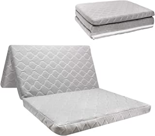 SURPCOS Tri-fold Pack n Play Mattress Pad with Firm (for Babies) & Soft (Toddlers) Sides | Portable Foldable Playard Mattress, Playpen Mattress for Pack and Play Crib | Includes Carry Case
