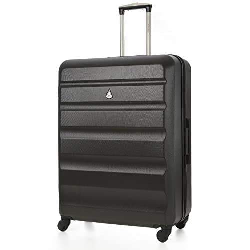 "Aerolite Large Super Lightweight ABS Hard Shell Travel Hold Check in Luggage Suitcase with 4 Wheels, 29"", Charcoal"