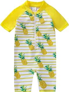YIRONGWANG Baby Toddler Boys Girls Swimsuit One Piece Swimwear Bathing Suit Rash Guard with Zipper Short Sleeve 3-24 Months
