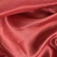"""mds Pack of 5 Yard Charmeuse Bridal Solid Satin Fabric for Wedding Dress Fashion Crafts Costumes Decorations Silky Satin 44""""- Coral"""