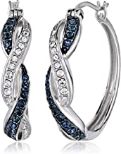 Rhodium Plated Sterling Silver Ruby-Colored and White Swarovski Crystal Twisted Hoop Earrings