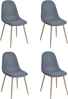 Juego de 4 sillas de Estilo escandinavo con Asiento y Respaldo recubiertas de Tela Azul, Patas de Metal con Acabado imitación de Roble Claro, 43 x 53 x 87 cm