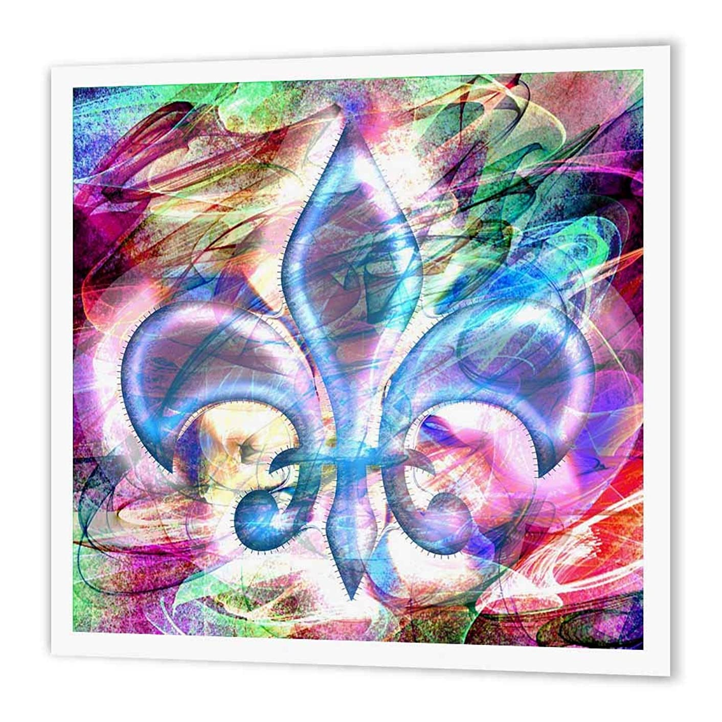 3dRose ht_104701_1 Fleur De Lis Abstract Art Iron on Heat Transfer Paper for White Material, 8 by 8