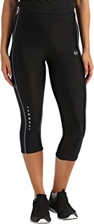 Ultrasport Women's Running Pants Capri with Compression Effect & Quick-Dry-Function, Black/Purple, S