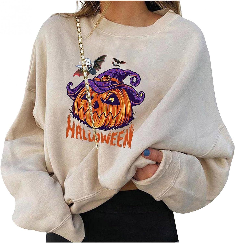 Print Sweatshirts for Women Graphic Pumpkin Halloween Sweatshirts Long Sleeve Hooded Pullover Tops Lightweight