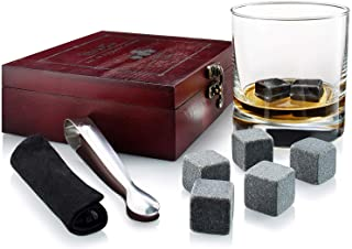 Gift Set of 8 Whiskey Chilling Stones [Chill Rocks] - in Premium Wooden Gift Box with Stainless Steel Tongs and Velvet Carrying Pouch - Made of 100% Pure Soapstone - by Quiseen