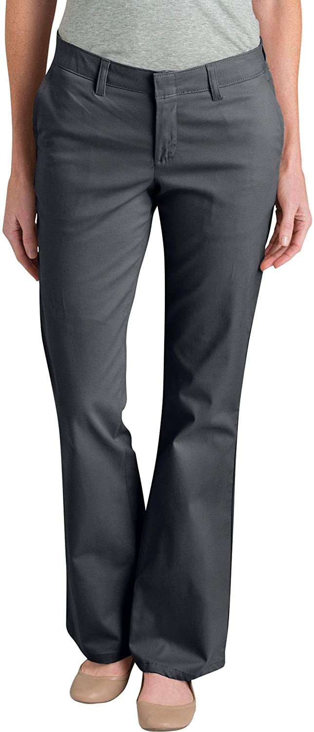 Dickies Womens Flat Front Stretch Twill Pant Slim Fit Bootcut Khakis