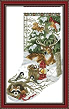 Cross Stitch Kits, Winter Jungle Christmas Stocking Awesocrafts Easy Patterns Cross Stitching Embroidery Kit Supplies Christmas Gifts, Stamped or Counted (Christmas Stocking, Counted)