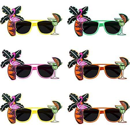 Betoy Lustige Brillen 6 Paar Party Sonnenbrille Palme Brille Hawaii Universal Hawaiian Tropical Party Brille Set Für Foto Requisiten Beach Party Accessoires Tanzshows Fun Partys 14 X 11 5cm Spielzeug