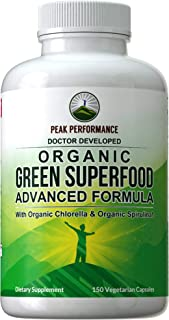 Organic Super Greens 150 Capsules - Green Juice Superfood Supplement with 25+ All Natural Amazing Ingredients. Max Energy + Detox Super Food Pills with Spirulina, Spinach, Kale, Turmeric, Probiotics