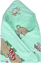 SHOP FRENZY Baby Blanket Cum Hooded Muslin Receiving Security Green Towel Wrapper Multi Color Printed Cartoon