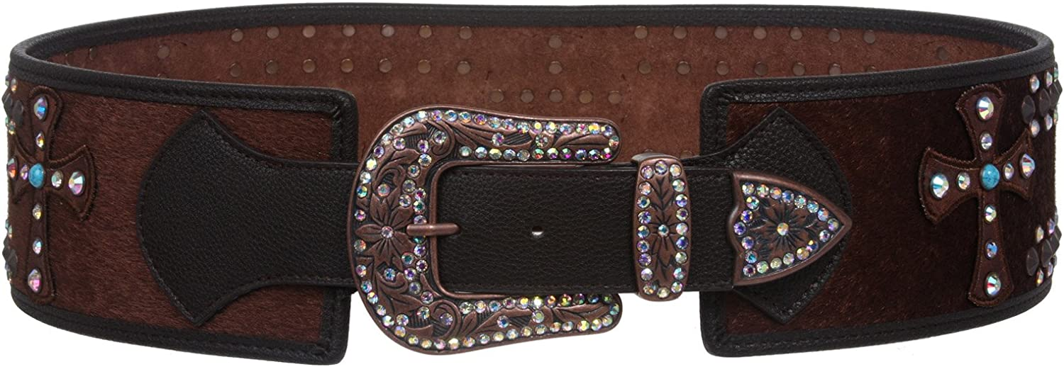 Womens Wide High Waist Animal Fur Rhinestone Cross Contour Belt
